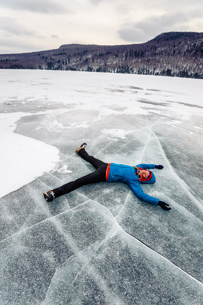 Hjördis Rickert-Zeugswetter, ice-angel, Lake Willoughby, Vermont.